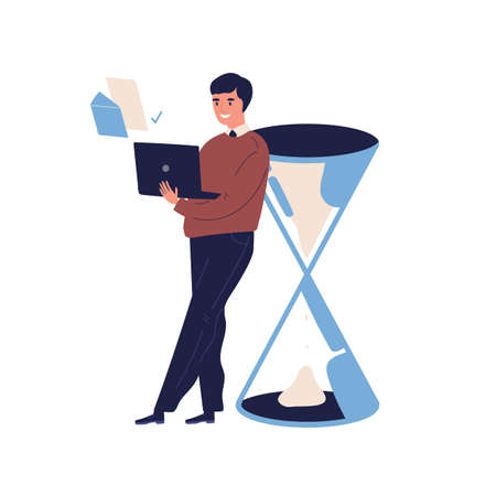 Concept of successful task completion, organize effective plan, good time management. Happy man stand by giant clock, sandglass, hold laptop. Flat vector cartoon illustration isolated on white