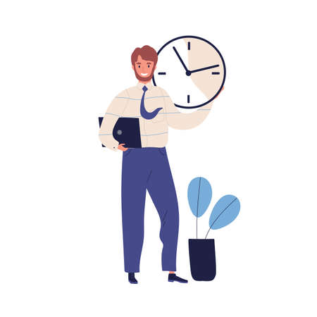 Good time management, scheduling concept. Successful task planning, work effectiveness. Office manager, happy man holding wall clock. Flat vector cartoon illustration isolated on white background