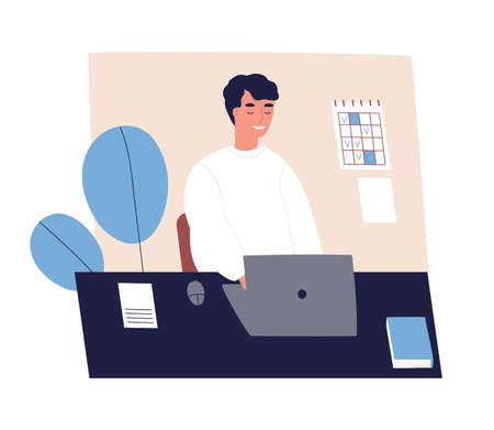 Concept of good time management, productive office work, self organization. Happy, succeed, man with done to do list, appointment. Organize agenda. Flat vector cartoon illustration isolated on white