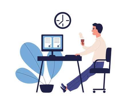 Concept of good time management, productive work, self organization. Office man having coffee break with done to do list, appointment in flat vector cartoon illustration isolated on white background