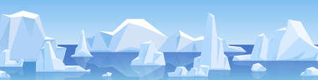 Beautiful panorama with natural arctic glacier and floating iceberg vector flat illustration. Panoramic landscape of north sea or arctic ocean snow mountains. Frozen nature of Antarctica
