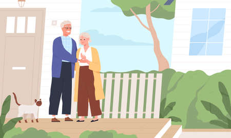 Elderly couple hugging standing together on porch of countryside house vector flat illustration. Aged man and woman with cat near village dwelling. Mature people holding hands outdoor