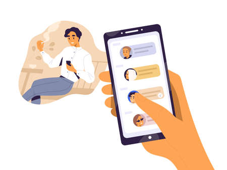 Smiling guy surfing internet use smartphone during smoking vector flat illustration. Human hand holding mobile with contacts or messages on screen isolated on white. Happy man chatting enjoying break