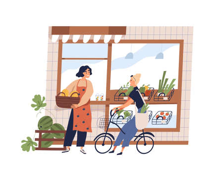 Friendly woman greengrocer and buyer at grocery facade vector flat illustration. Smiling female owner working at small shop with vegetables and fruits isolated. Girl customer on bike talk with seller
