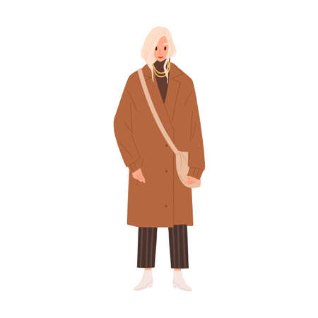 Fashionable woman in trendy accessories and winter clothes vector flat illustration. Stylish young female with handbag demonstrate outfit isolated on white. Classy person in warm overcoat