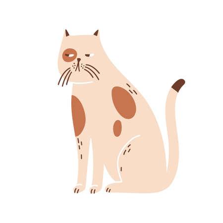 Sleepy, lonely cat portrait. Cute beige pet. Suspicious kitten muzzle. Domestic animal. Decoration, childish design for t shirt print. Flat vector cartoon illustration isolated on white background