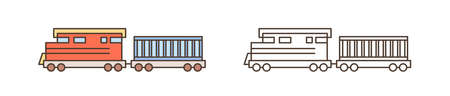 Modern train, locomotive icon. Commercial railway vehicle with goods wagon. Logistics, shipment, cargo delivery, transportation. Flat vector line art illustration isolated on white background 일러스트