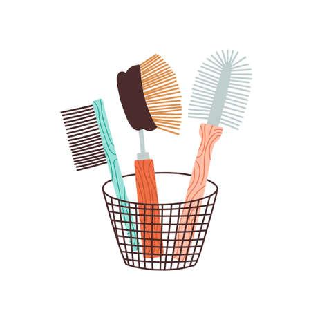 Eco friendly zero waste bristle brush. Washing scrub dish cleaner. Natural kitchen tool, equipment. Wooden, bamboo handle in basket. Flat vector cartoon illustration isolated on white background Illustration