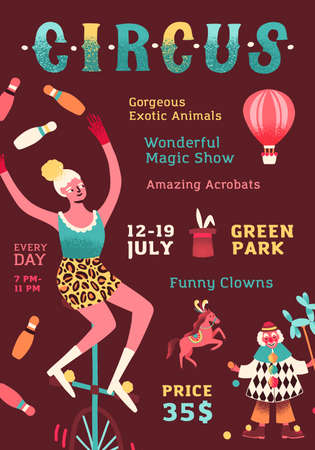 Shapito circus performance promo poster. Funny clown, woman juggler on monocycle, trained horse, rabbit and magic performing show. Announcement with place for text. Flat vector cartoon illustration Vektorgrafik