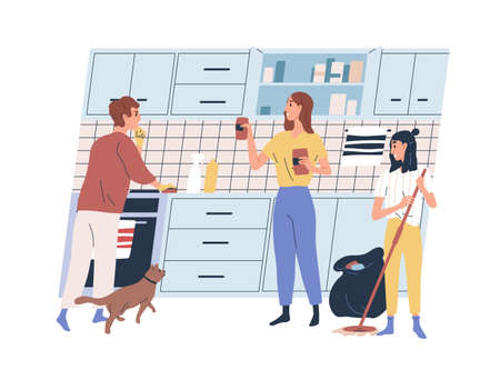 Happy family doing cleaning at kitchen together vector flat illustration. Mother, father and daughter wiping dust, washing floor, throw garbage in trash isolated on white. People during housework