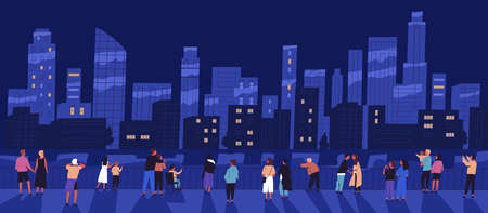 Crowd of different people standing on waterfront admiring night cityscape vector flat illustration. Man, woman, children and couple relaxing outdoor walking on embankment. View of city buildings