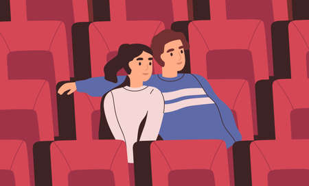 Smiling couple sitting on chair at movie theater vector flat illustration. Happy man and woman hugging during watching film at cinema auditorium. People viewers at romantic date