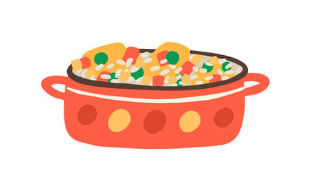 Arroz con Pollo, traditional Cuban, Mexican or Spanish spicy dish. Paella, risotto cooked in saucepan. Vegetarian, vegan fried rice. Flat vector cartoon illustration isolated on white background