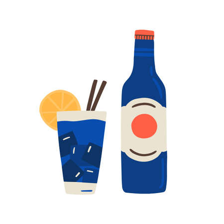 Cuban rum bottle, fresh mineral water, glass of soda, cocktail with ice cubes, lemon, straws. Fizzy refreshing drink or alcohol beverage. Flat vector cartoon illustration isolated on white background