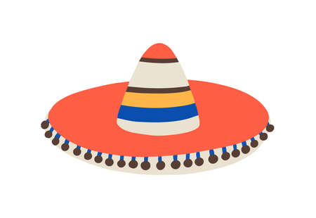 Cuban or mexican sombrero, traditional or folk hat. Hispanic carnival or fiesta. Colorful striped party accessory bright decorated. Flat vector cartoon illustration isolated on white background