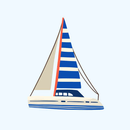 Regatta, yacht or sea sailboat sailing in the sea or ocean with minimalistic striped sail. Vacation or maritime. Flat vector cartoon simple illustration isolated on blue background Vecteurs