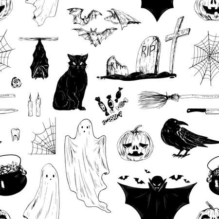 Halloween black and white seamless pattern with all saints day holiday symbols. Scary Helloween endless background for wrapping, print. Flat vector cartoon illustration isolated on white