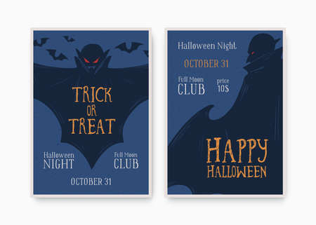 Halloween party invitation, poster, template with place for text. All saints day holiday masquerade creepy flyer. Helloween design layout. Bat, vampire. Hand drawn vector illustration Ilustracja