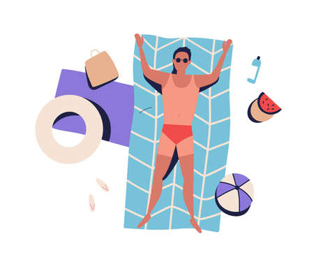 Top view sunbathing man with bad tanning, lying on beach blanket in swimsuit. Guy rest by sea, relax, chill, suntan. Summer vacation. Flat vector cartoon illustration isolated on white background