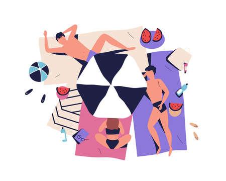 Cartoon people sunbathing on beach in bikini, beachwear. Friends rest near sea, relaxing, lying, suntan under parasol. Summer vacation, tourism. Flat vector illustration isolated on white background Stock Illustratie