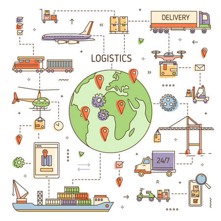 Logistics concept with freight vehicles, transport deliver trade goods. Cargo transportation, international delivery, worldwide, global shipping. Colored vector illustration in modern line art style