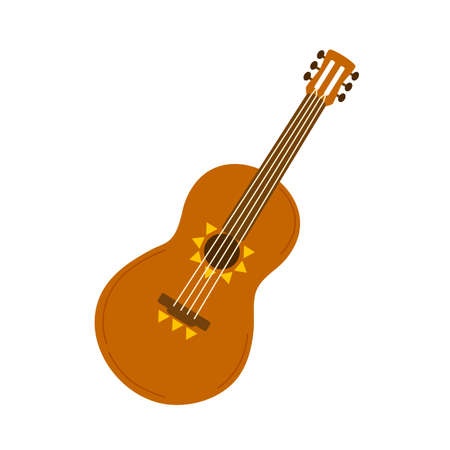 Classic acoustic guitar, four-string musical traditional latin cinco instrument. Ornamented ukulele, folk country music symbol. Flat vector cartoon illustration isolated on white background Illusztráció
