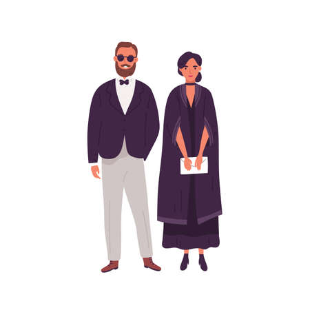 Couple in trendy evening clothes standing together vector flat illustration. Stylish man and woman ready to event wearing classy apparel isolated. Fashionable pair in elegant wear and accessories