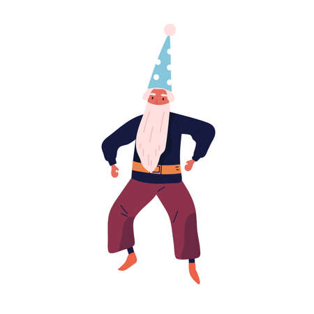 Male character in wizard costume vector flat illustration. Festive magical gnome with beard and cap wear masquerade apparel isolated. Funny man in carnival garment dancing celebrating holiday