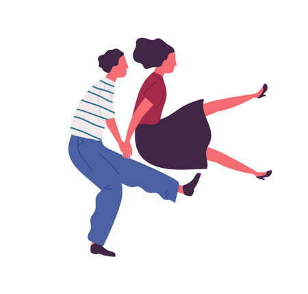 Happy couple jumping dancing together holding hands vector flat illustration. Man and woman performing lindy hop dance elements isolated on white. Dancers pair having fun at disco or party