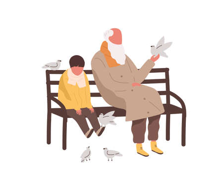 Little cute boy and old bearded male sitting on bench together vector flat illustration. Grandchild and grandfather playing with pigeons isolated. People relaxing outdoor at spring or autumn season