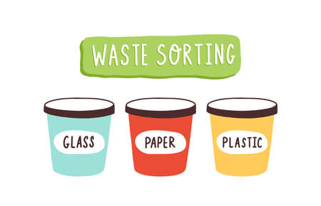 Containers for waste sorting with glass, paper and plastic vector flat illustration. Colorful buckets for garbage separation isolated. Eco friendly junk utilization and recycling. Environment safety