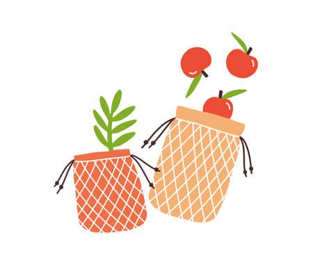Zero Waste durable and reusable bags for grocery carry vector flat illustration. Shopping package in eco friendly, no plastic and go green style isolated. Grid shopper bag with fruits and greenery