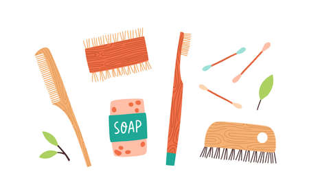 Set of Zero Waste durable and reusable hygiene items vector flat illustration. Collection of various eco friendly elements for care isolated. Wooden dish brush, comb, toothbrush, soap and cotton buds