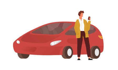 Modern guy use smartphone standing near red car vector flat illustration. Male character chatting on mobile posing with automobile isolated on white. Man using phone application outdoor