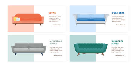 Banner of comfy modern couches set vector flat illustration. Collection of promo flyer with place for text. Stylish comfortable furniture of various types. Web advertising for store or shop isolated  イラスト・ベクター素材