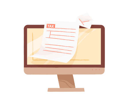 Monitor of computer demonstrate open email with tax form blank vector flat illustration. Online personal taxation, income or revenue calculation isolated. Internet banking or payment service  イラスト・ベクター素材