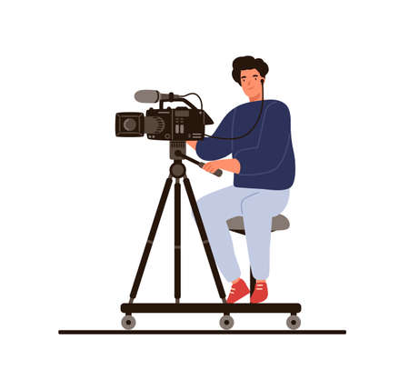 Cameraman sitting hold professional camera with microphone vector flat illustration. Operator in earphones shooting reportage or studio filming isolated. Film making or newcast video backstage