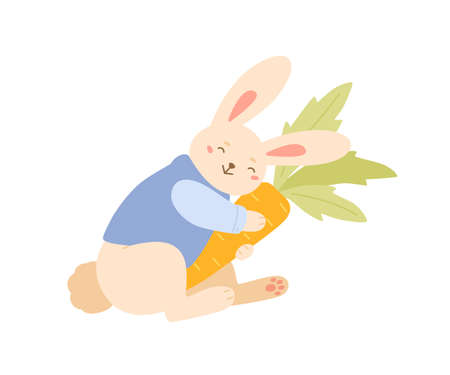 Funny rabbit smiling hugging carrot vector flat illustration. Cute bunny in trendy jacket holding fresh tasty orange vegetable isolated on white. Happy pretty childish animal with seasonal food  イラスト・ベクター素材