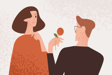 Man admirer giving red rose to attractive woman vector flat illustration. Enamored guy making present to lovely female. Couple enjoying romantic date isolated. People feeling love and tenderness