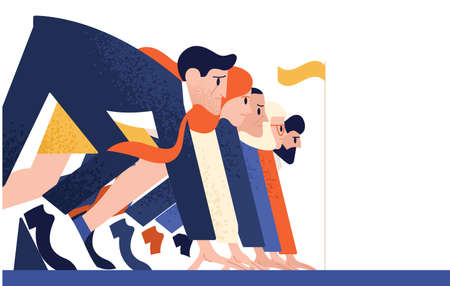 Man and woman at business race vector flat illustration. Office workers or clerks standing at starting position ready to sprint run isolated. Rivalry between colleagues. Professional competition  イラスト・ベクター素材