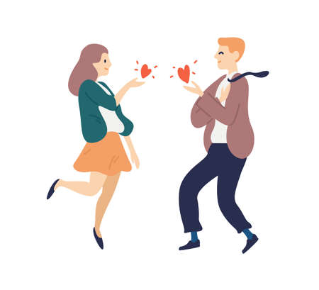 Flutter man and woman sending hearts to each other vector flat illustration. Happy couple feeling mutual love isolated on white. Pair enjoy romantic relationship. Reciprocal sympathy between people