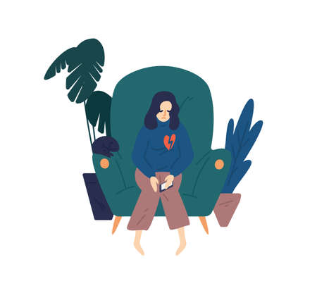 Upset woman with broken heart hold smartphone vector flat illustration. Heartbroken female sit on armchair have problem in relationship feeling hurt isolated. Depressed person see parting message  イラスト・ベクター素材