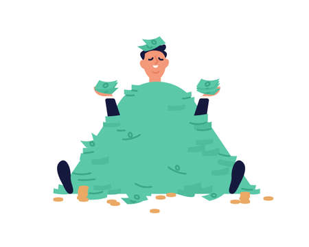 Smiling businessman sit with stack of banknotes and coins vector flat illustration. Male millionaire holding heap of cash enjoying richness and financial success isolated. Man in huge currency pile