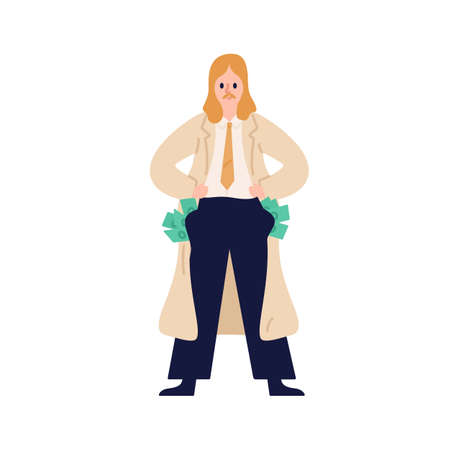 Business male in suit stand with full of money pockets vector flat illustration. Corruption man demonstrate wealth isolated. Executive guy hide currency bribe or illegal payment in pants