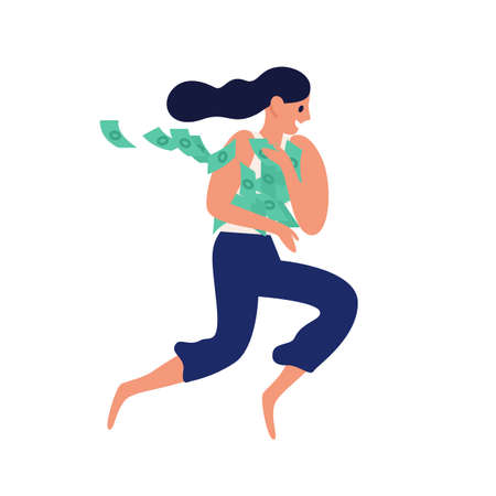 Happy woman running with heap of cash vector flat illustration. Lucky female rejoicing financial fortune or lottery win isolated on white. Joyful wealthy person carry currency or money banknote