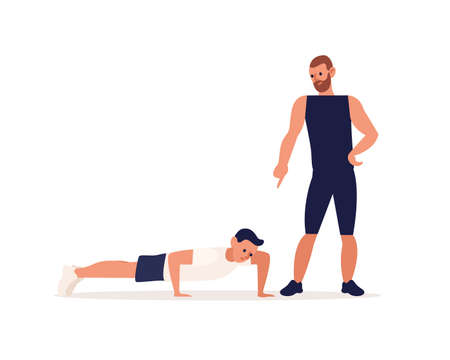 Personal male coach and client guy at training vector flat illustration. Man performing push ups or physical exercise with trainer support isolated. People enjoy sports and healthy lifestyle