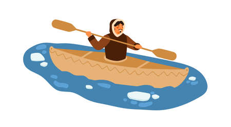 Male Eskimo in traditional warm clothes floating on kayak with paddle vector flat illustration. Ethnic guy on boat at northern sea with ice pieces isolated on white. Native polar man in vessel