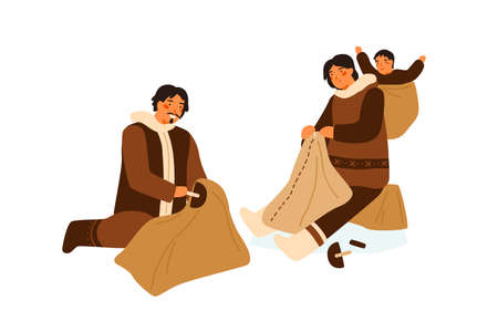 Traditional Eskimo family during animal skin treatment after hunting vector flat illustration. Man and woman sewing national clothes together isolated on white. Manual creating of warm clothing