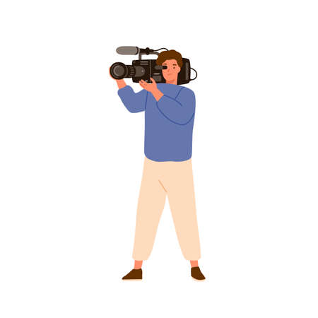 Media man holding camera with microphone. Professional camcorder, cameramen, operator, videographer. Video, movie or film maker. Shooting process. Flat vector cartoon illustration isolated on white