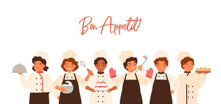 Bon Appetit banner with lettering and kids. Children cooking and serving meal, boys, girls in uniform, toques, chefs hat standing together. Flat vector cartoon illustration isolated on white  イラスト・ベクター素材